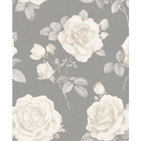 Floral Linen Effect Wallpaper Roses Flowers Grey Cream Textured Belgravia Decor from Y�L