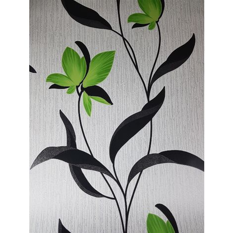 Floral Motif Glitter Wallpaper Green Black White Textured Vinyl Erismann Fleur