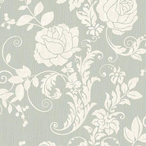 Floral Motif Wallpaper Rasch Mint Green White Glitter Natural Textured Vinyl