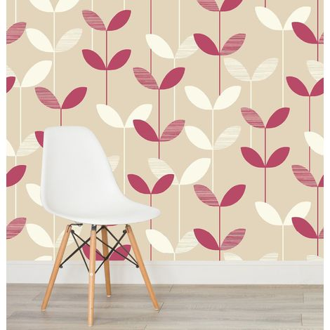 Floral Raspberry Beige Leaf Wallpaper Paste The Wall Pearlescent Textured Flower