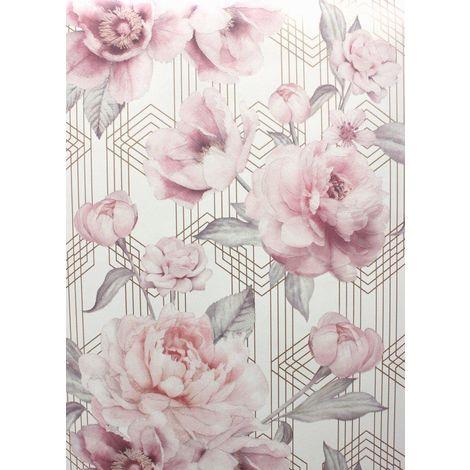 Floral Roses Geometric Glitter Wallpaper Flower Pink White Rose Gold Metallic