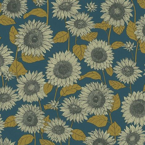 Floral Sunflower Wallpaper A.S Creation Blue Navy Yellow Cream Textured Vinyl