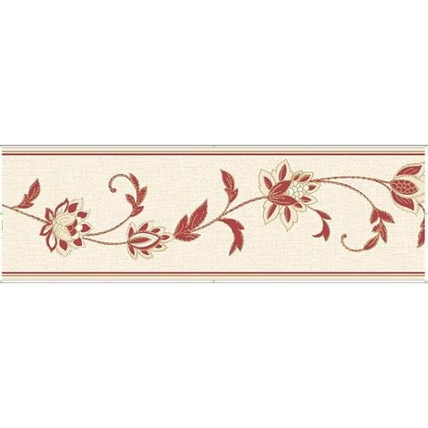 Floral Textured Wallpaper Border Red Cream Detail Annabell Fine Decor 173mm