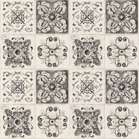 Floral Tile Rasch Wallpaper Kitchen Bathroom Leaf Motif Textured Embossed