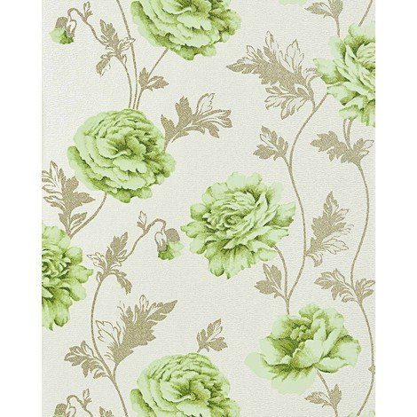 Floral vinyl wallpaper cottage country style EDEM 086-25 romantic wallpaper roses blossoms textured light beige light green
