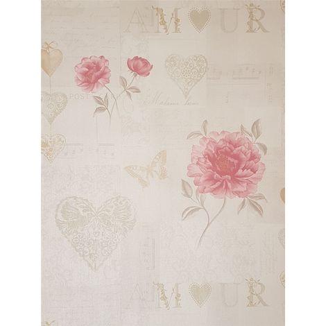 Floral Wallpaper Calligraphy Script Pink Beige Gold Metallic Textured Vinyl