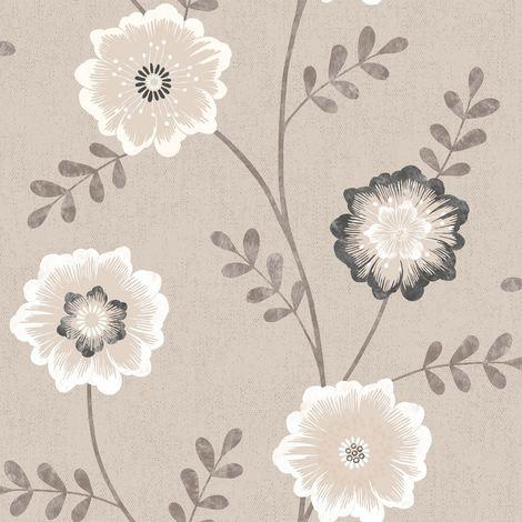 Floral Wallpaper Flower Leaf Stem Modern Luciana Muriva 4 Colours