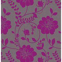 Floral Wallpaper Flower Twilight Metallic Grey Purple Paste The Wall Arthouse