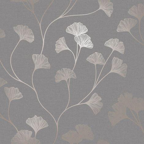 Floral Wallpaper Flowers Grey Rose Gold Metallic Shimmer Holden Decor Ginkgo