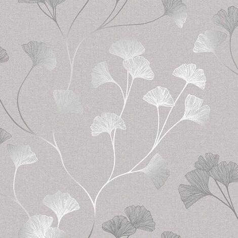 Floral Wallpaper Flowers Grey Silver Metallic Shimmer Holden Decor Ginkgo 12700