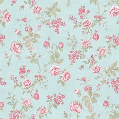 Floral Wallpaper in Beige Or Blue Pink Botanic Flowers Matt Finish Vinyl