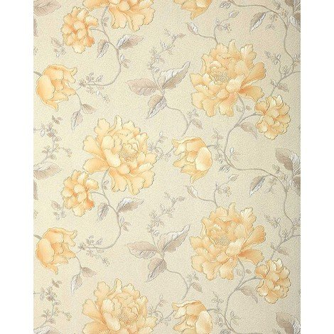 Floral wallpaper wall EDEM 748-30 embossed heavy-weight vinyl wallpaper wall flowers ivory cream platin-grey gold 57 sq ft