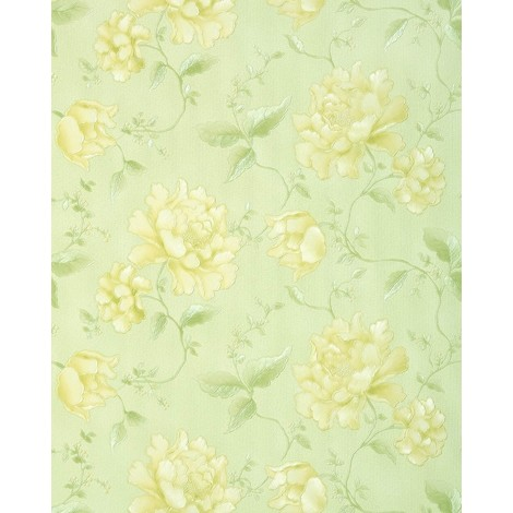 Floral wallpaper wall EDEM 748-38 embossed heavy-weight vinyl wallpaper wall flowers yellow green 5.33 sqm (57 sq ft)