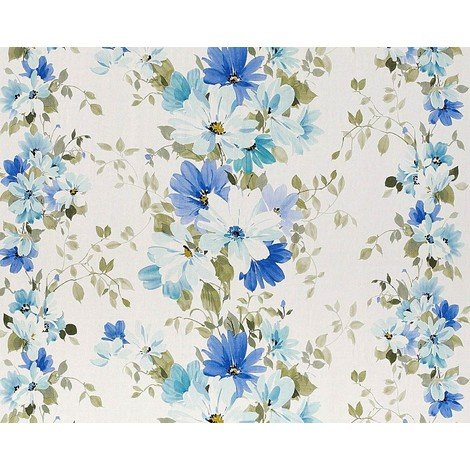 Floral wallpaper wall non-woven EDEM 907-01 luxury embossed flower fabric look white blue olive-green 10.65 sqm (114 sqft)
