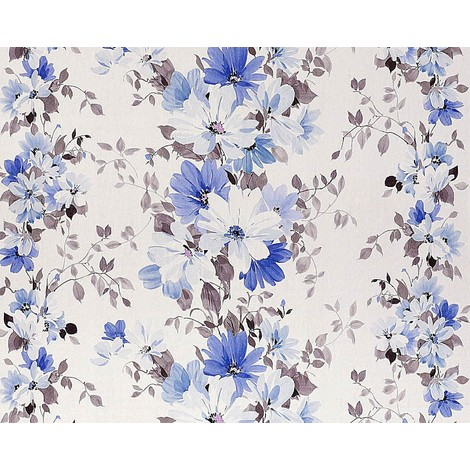 Floral wallpaper wall non-woven EDEM 907-03 luxury embossed flower fabric look white lilac blue grey 10.65 sqm (114 sqft)