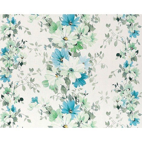 Floral wallpaper wall non-woven EDEM 907-04 embossed flower fabric look white green turquoise blue 10.65 sqm (114 sqft)
