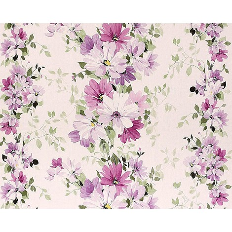 Floral wallpaper wall non-woven EDEM 907-05 embossed flower fabric look white violet rose green 10.65 sqm (114 sqft)