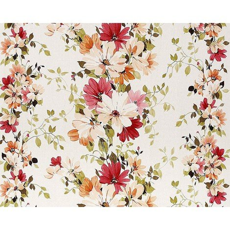 Floral wallpaper wall non-woven EDEM 907-06 luxury embossed flower fabric look white carmin red green 10.65 sqm (114 sqft)