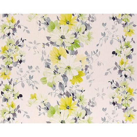 Floral wallpaper wall non-woven EDEM 907-08 embossed flower fabric look white yellow green grey 10.65 sqm (114 sqft)