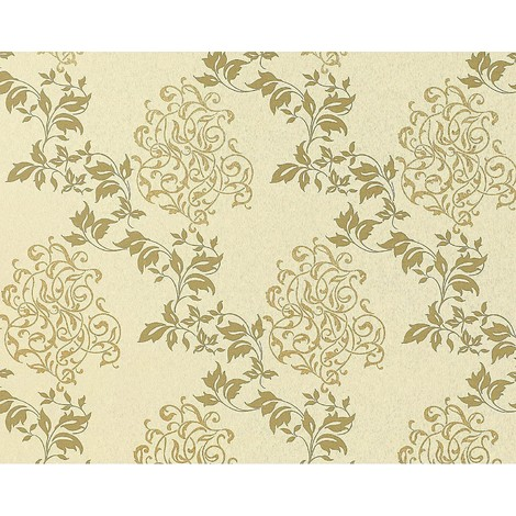 Floral wallpaper wall non-woven EDEM 946-21 classic leaf flower decor cream olive-green gold 10.65 sqm (114 sq ft)