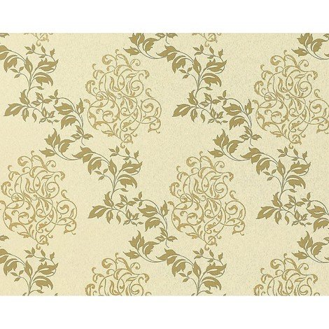 Floral wallpaper wall non-woven EDEM 946-21 Luxury classic leaf flower decor cream olive-green gold 10.65 sqm (114 sq ft)
