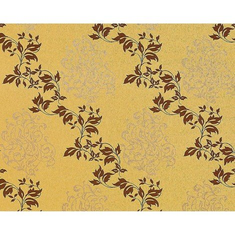Floral wallpaper wall non-woven EDEM 946-22 classic leaf decor mustard yellow beige copper 10.65 sqm (114 sq ft)