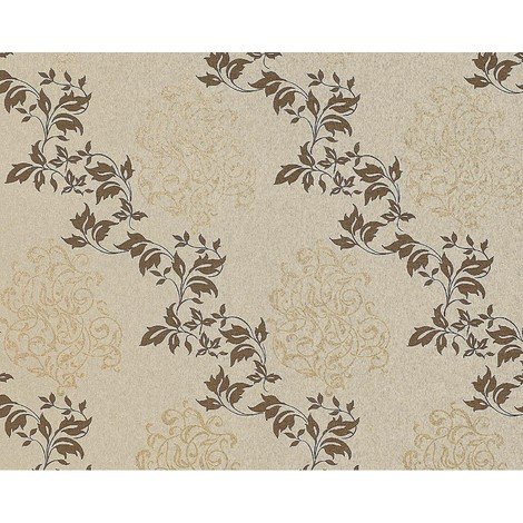 Floral wallpaper wall non-woven EDEM 946-25 classic leaf decor cocoa brown brown-grey bronze 10.65 sqm (114 sq ft)