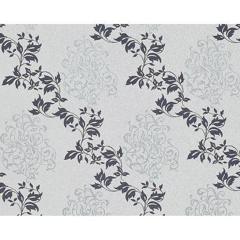 Floral wallpaper wall non-woven EDEM 946-27 classic leaf decor light grey sapphire blue silver 10.65 sqm (114 sq ft)