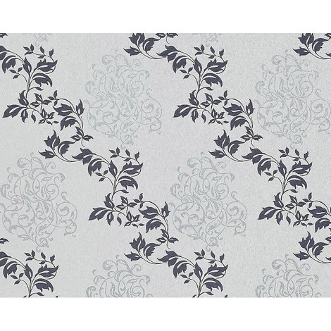 Floral wallpaper wall non-woven EDEM 946-27 Luxury classic leaf decor light grey sapphire blue silver 10.65 sqm (114 sq ft)