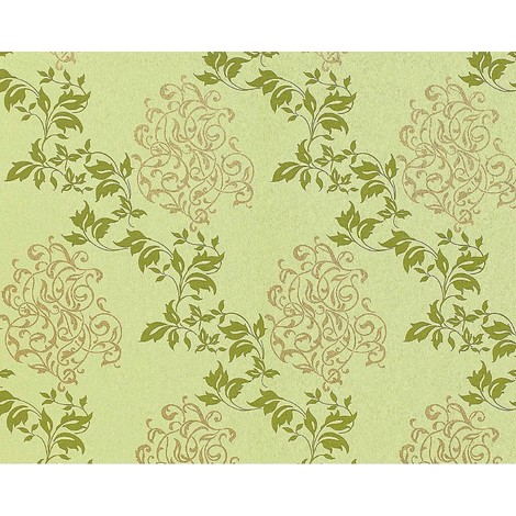Floral wallpaper wall non-woven EDEM 946-28 Luxury classic leaf decor yellow-green apple green gold 10.65 sqm (114 sq ft)
