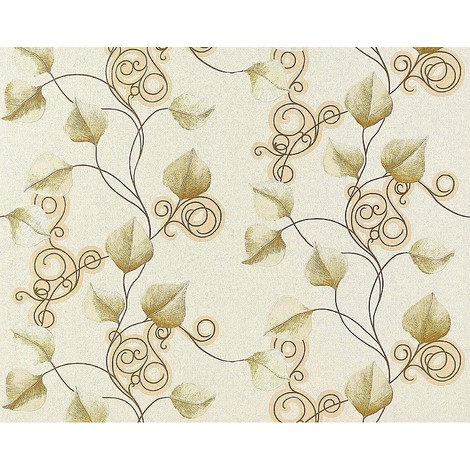 Floral wallpaper wall non-woven EDEM 950-20 embossed flowers leafs cream ivory green gold 10.65 sqm (114 sq ft)