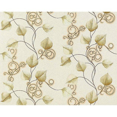 Floral wallpaper wall non-woven EDEM 950-20 luxury embossed flowers leafs cream ivory green gold 10.65 sqm (114 sq ft)