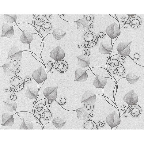 Floral wallpaper wall non-woven EDEM 950-27 luxury embossed flowers leafs decor light grey silver 10.65 sqm (114 sq ft)