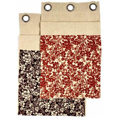 FLORALIES - <p>Rideau 100% lin à œillets à motifs floraux marron 140x250</p> - Marron