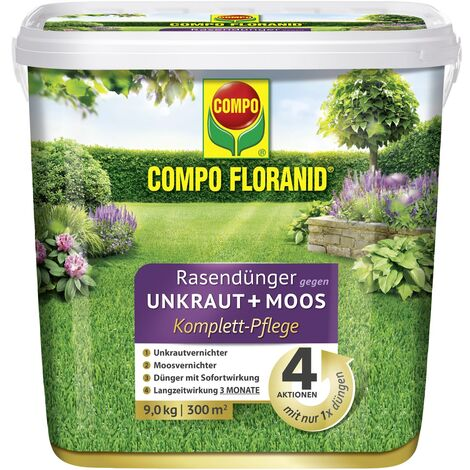 Floranid Rasendünger 4-in-1, gegen Unkraut & Moos