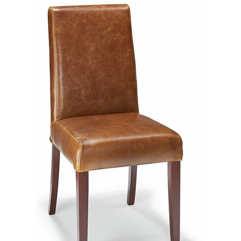 Florence Tan Aniline Real Leather Dining Kitchen Chair Walnut Legs Padded Seat And Back Fully Assembled Tan Leather Walnut Oak