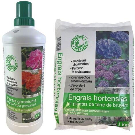 FLORENDI - Lot Engrais hortensias et plantes de terre de bruyères 1kg et Engrais géraniums et plantes fleuries 1L