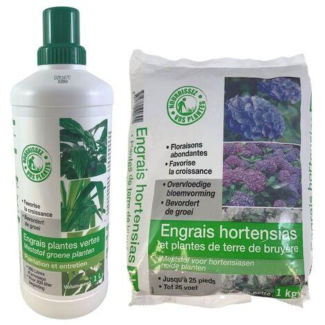 FLORENDI - Lot Engrais hortensias et plantes de terre de bruyères 1kg et Engrais plantes vertes 1L