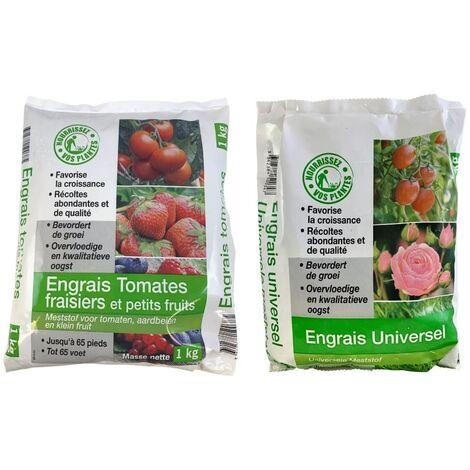 FLORENDI - Lot Engrais tomates et fraisiers 1kg et Engrais universel 1kg