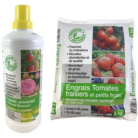 FLORENDI - Lot Engrais universel 1L et Engrais tomates et fraisiers 1kg