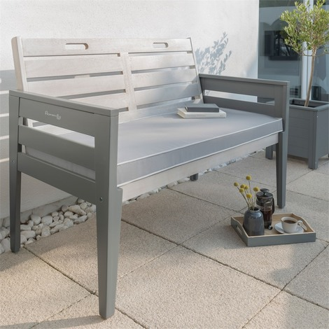 Fantastic Florenity Grigio 2 Seater Wooden Grey Bench With Optional Seat Pad Evergreenethics Interior Chair Design Evergreenethicsorg