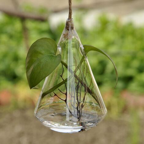Florero de planta hidroponica, soporte de planta de terrario en forma de gota de agua de vidrio transparente de escritorio