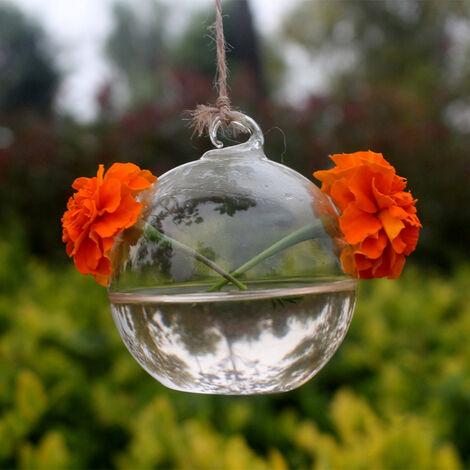 Florero de planta hidroponica, soporte de planta de terrario redondo de vidrio transparente de escritorio