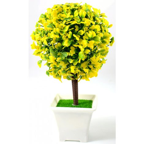 Flores artificiales con maceta (23x12 cm) Amarillo