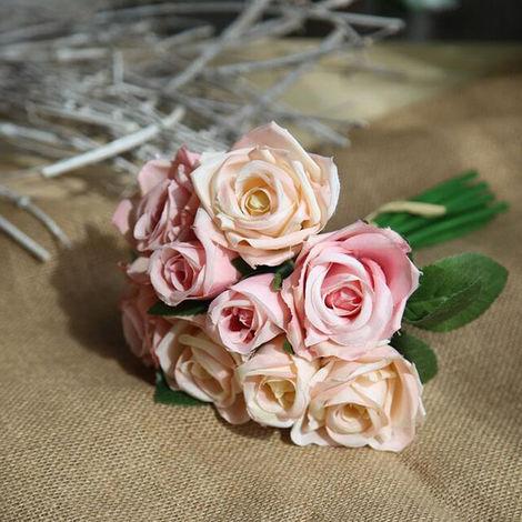Flores artificiales de seda flores artificiales de Rose Ramo de novia de la boda del partido del hogar Festival de decoracion de la barra, champan rosado