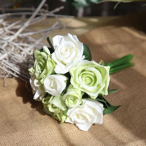 Flores artificiales de seda flores artificiales de Rose Ramo de novia de la boda del partido del hogar Festival de decoracion de la barra, verde claro