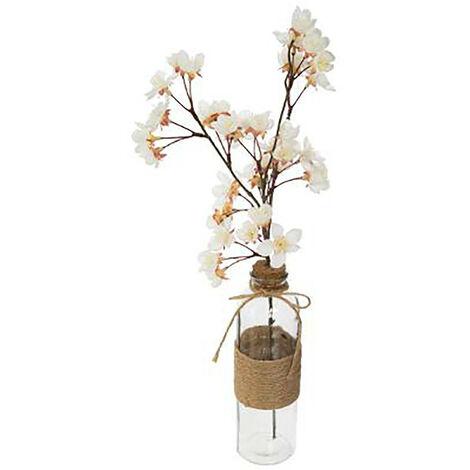 Flores Artificiales Decoración Jarrones, Decoración Flor Cerezo, Floreros Originales. Color - Blanco