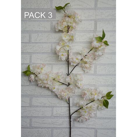 Flores Artificiales Decoración Jarrones Set de 3, Flor de Cerezo. Ramas Flores Decorativas 100 cm