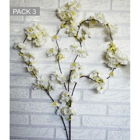 Flores Artificiales Decoración Jarrones Set de 3, Flores de Cerezo. Ramas Flores Decorativas 130 cm