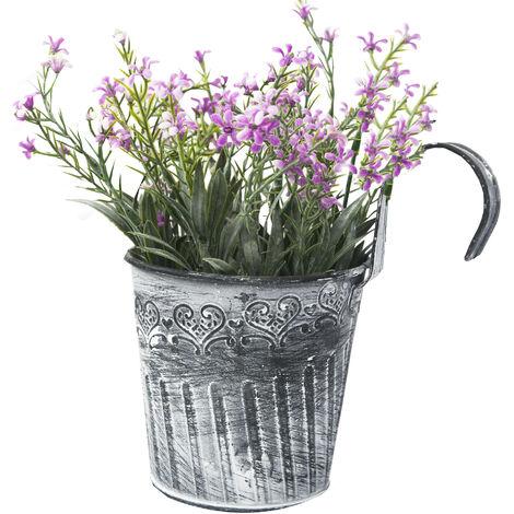 Flores artificiales en maceta colgante con gancho para balcón - Edición France - Hogar y más A